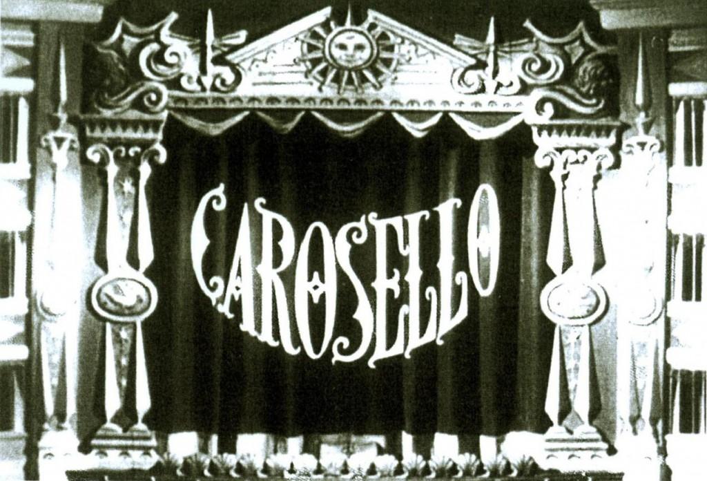 """Il fotogramma d'apertura del primo """"Carosello"""" televisivo, 1957"""