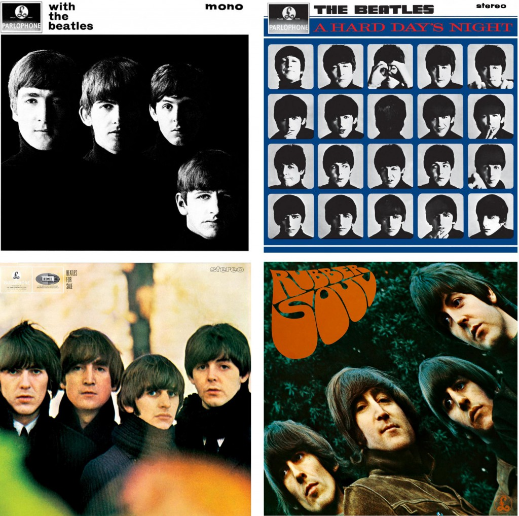 "Partendo dall'alto a sinistra, le copertine di: ""With the Beatles"" (1963), ""A Hard Day's Night"" (1964), ""Beatles for Sale"" (1964) e ""Rubber Soul"" (1965)"