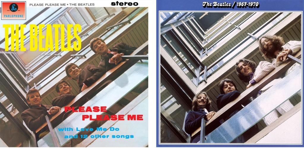 """A sinistra, la copertina di """"Please Please Me"""" (1963), a destra, il """"Bluea Album"""" (1972)"""